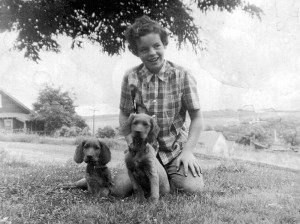 Sherry Woods with Irish Setter pups.