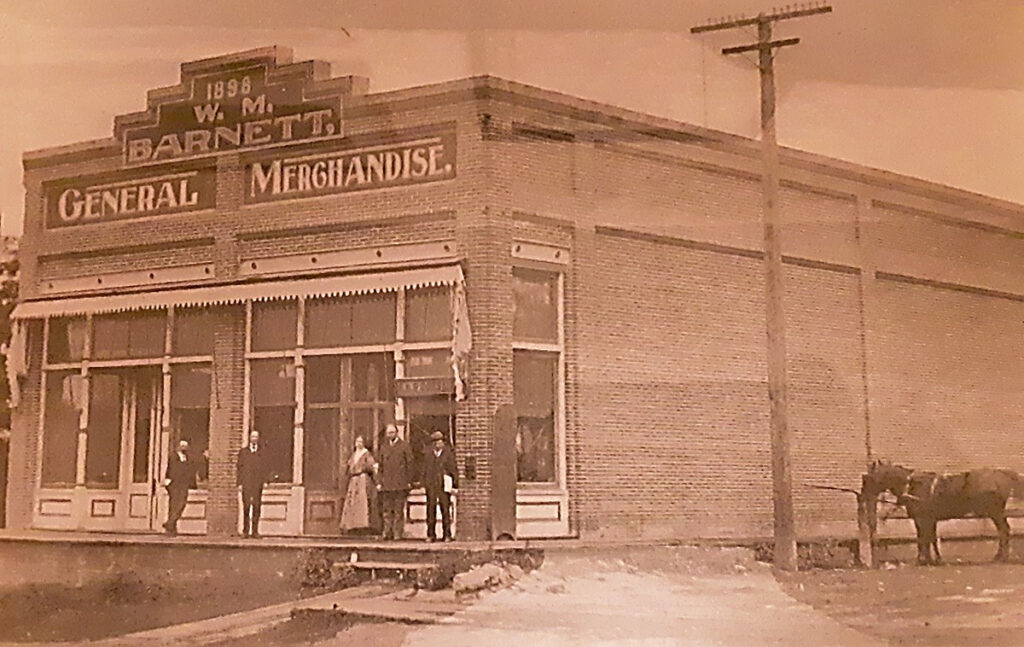Photo of the W.M. Barnett, General Merchandise building in Wasco, Oregon. image from the Wasco, Oregon Centennial Calendar.