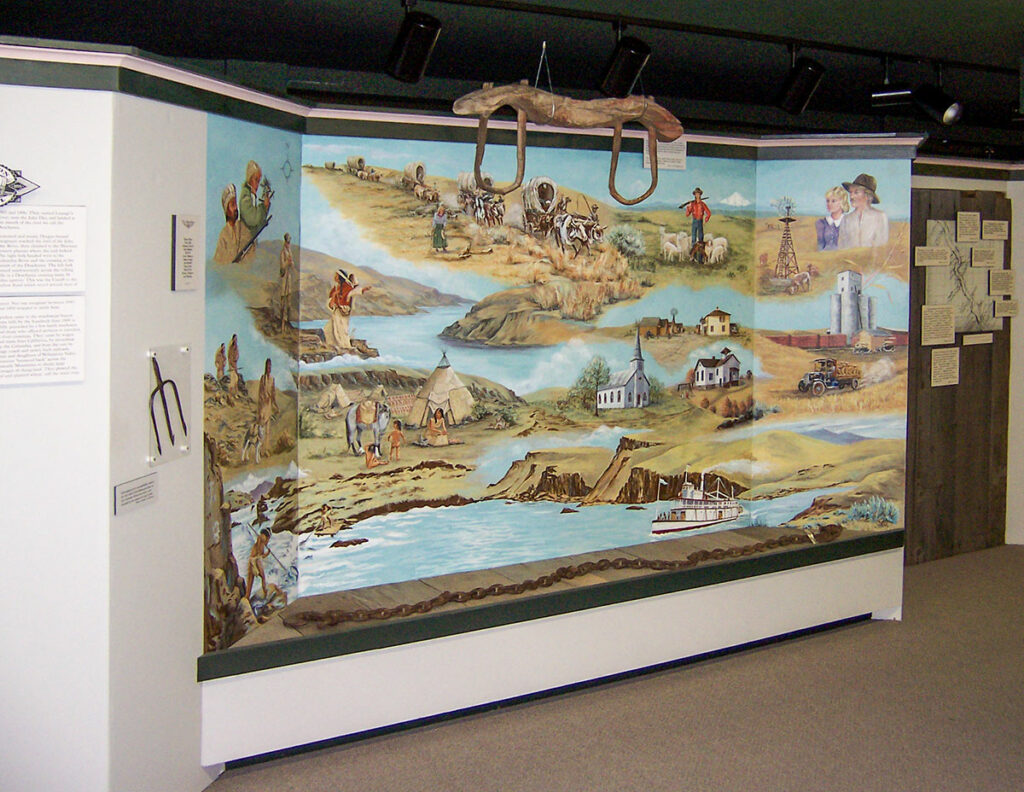 The Oregon Trails, Rails and Roads in Sherma County exhibit mural. Photo by Cameron Kaseberg.