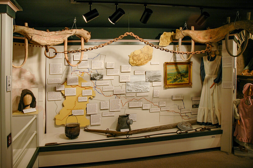 The Oregon Trails, Rails and Roads in Sherma County exhibit - The Oregon Trail map. Photo by Cameron Kaseberg.