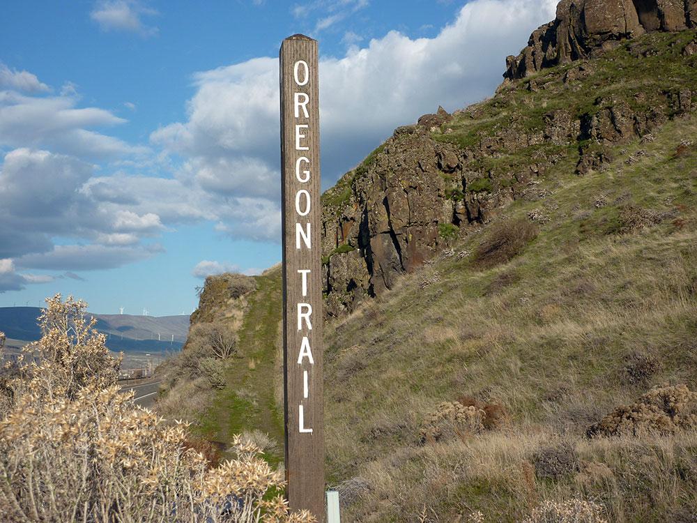 Oregon Trail marker west of Biggs, Oregon.
