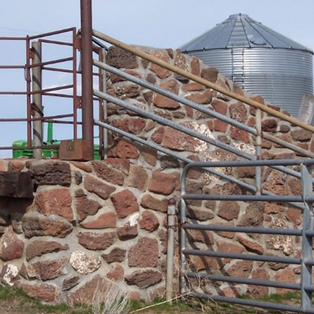 Rock wall and loading chute. Photo by Fred Justesen.