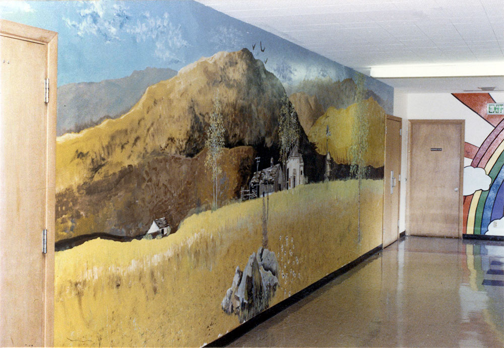 Country landscape by Nancy von Borstel and Cameron Kaseberg on the wall outside the cafeteria at Sherman Union High School, 1979.