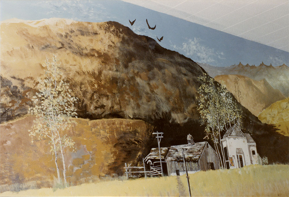 Detail - Country landscape by Nancy von Borstel and Cameron Kaseberg on the wall outside the cafeteria at Sherman Union High School, 1979. Photo by Cameron Kaseberg.