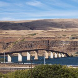 The Sam Hill Memorial Bridge at the intersections of Interstate 84 and Highway 97 at Biggs, Oregon.