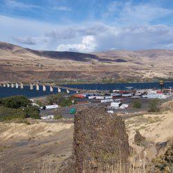 Looking east over Oregon Trail Marker to Biggs & Sam Hill Memorial Bridge. Biggs, Oregon - 2015