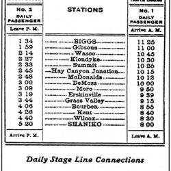 Columbia Southern RR schedule listing Biggs, Oregon stop.