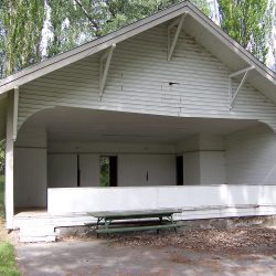One of the historic buildings at DeMoss Springs, Oregon.