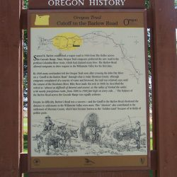 Oregon History sign at the park in Grass Valley, Oregon.