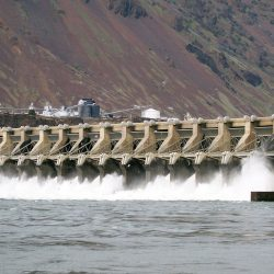 The John Day Dam on the Columbia River at Rufus, Oregon.