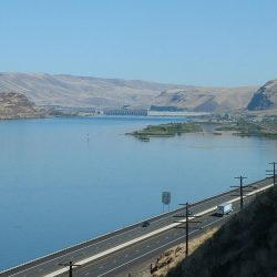 Looking East up the Columbia River. Rufus, Oregon is on the right. Interstate 84 run from the foreground east past the John Day Dam.