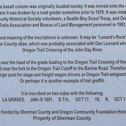 Leonard's Rock, Sherman County, Oregon