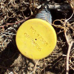 Survey marker at Leonard's Rock, Sherman County, Oregon