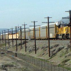 Rail lines running in front of Mattie's Hump, Biggs, Sherman County, Oregon