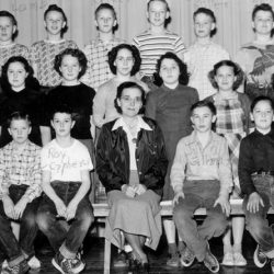 Grace Zeverly's class, 1950 at the Moro School, Moro, Oregon