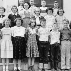 Grace Zeverly's class, 1949 at the Moro School, Moro, Oregon