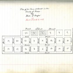 Plat map of the town of Grant, at the time in Wasco, County, Oregon.