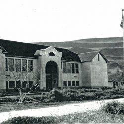 The new Rufus School and Teacherage in Rufus, Oregon. C. 1930.