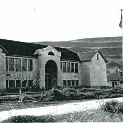 The new Rufus School and Teacherage  in Rufus, Oregon. C. 1930.